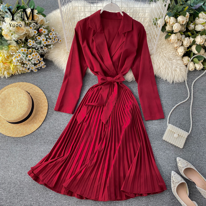 YuooMuoo Elegant Turn Down Collar Autumn Long Sleeve Women Dress Ladies Bandage Pleated Office Dress Elegant Midi Party Dress