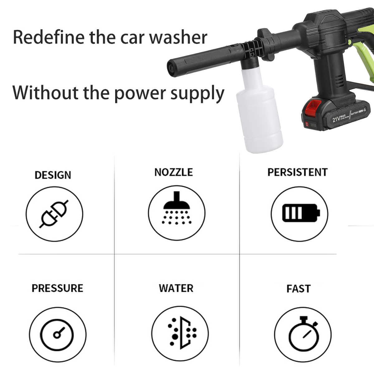 21V Cordless Portable High-pressure Car Washer 10000mAh Li-ion Battery 5m//16.4f