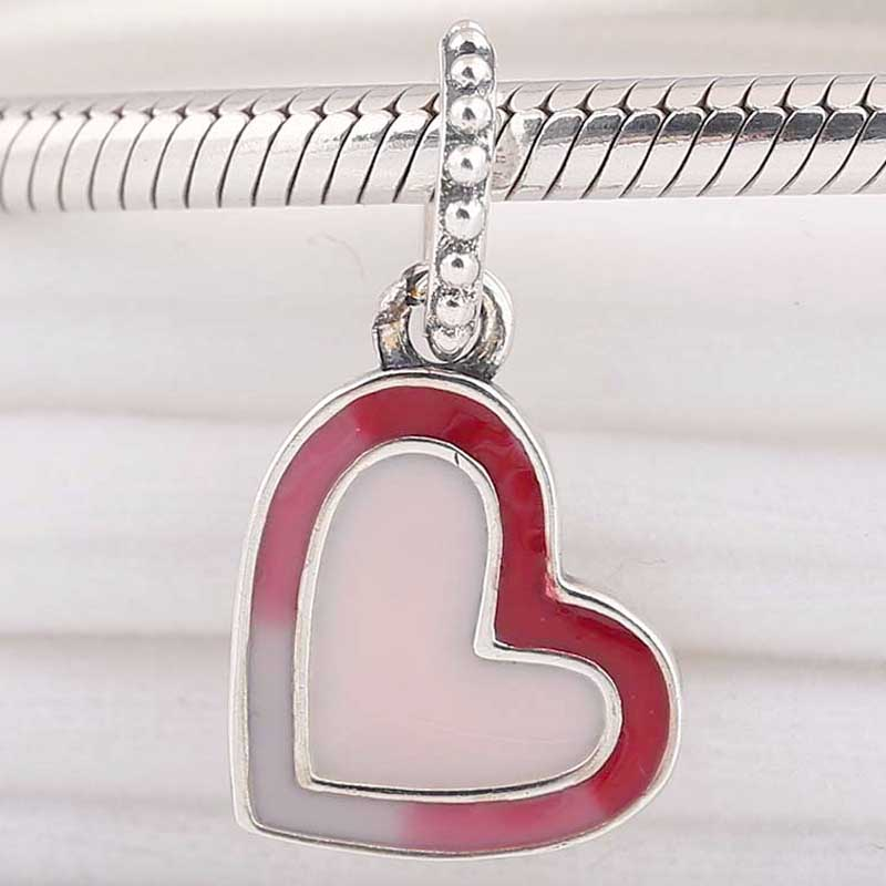 Original Red To Pale Pink Asymmetric Heart Of Love Pendant Beads Fit 925 Sterling Silver Bead Charm Pandora Bracelet Diy Jewelry(China)