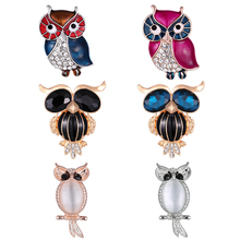 new Enamel pins Rhinestone Owl Brooch animal brooches for Women Men Clothes Scarf buckle collar jewelry pins Christmas Gifts hot fashion christmas wreath brooch cute jewelry christmas gift pins and brooches crystal mosaic collar clip scarf buckle jewelry