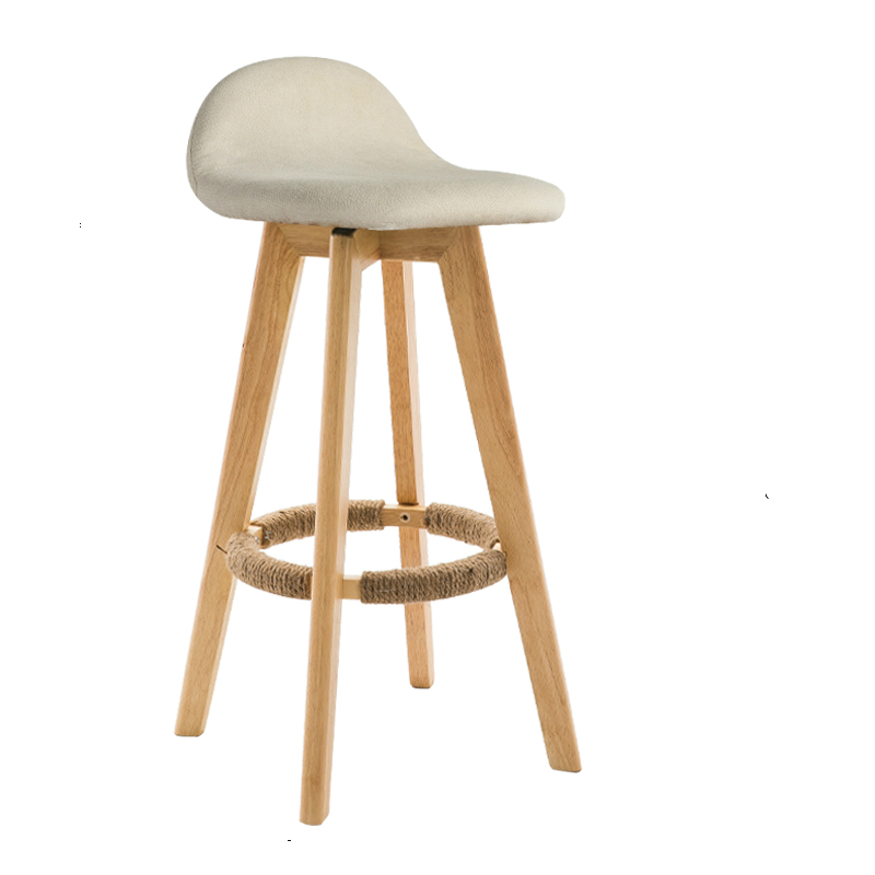 Nordic Bar Chair Solid Wood Back Bar Stool Retro Home High Stool Rotating Modern Minimalist Front Desk Chair