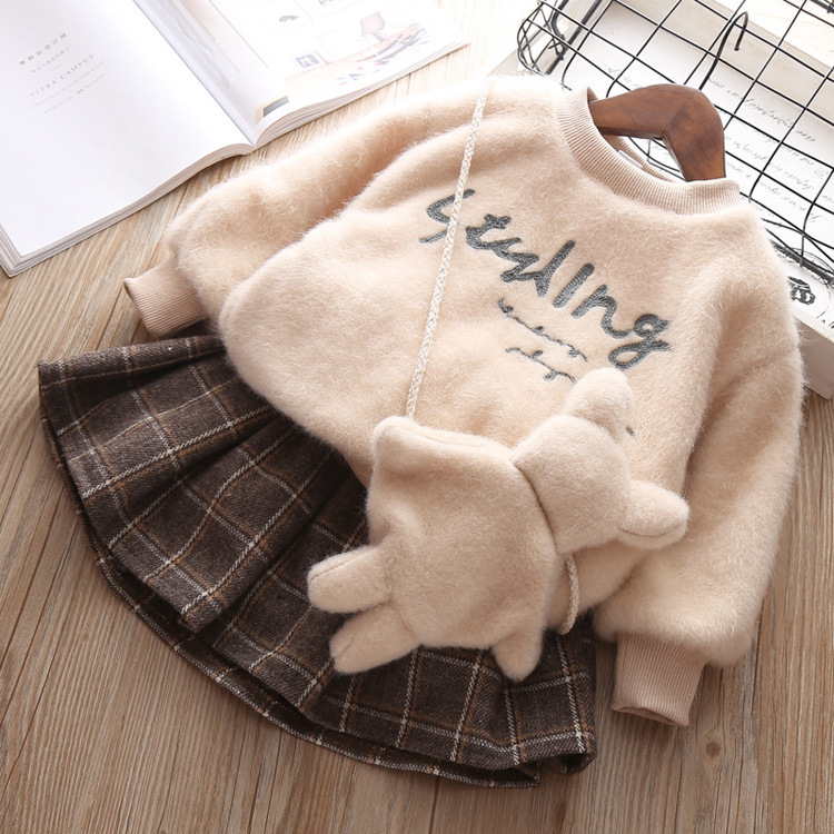 Baby girl clothes autumn and winter warm letter wool sweater plus velvet padded suit girls plaid skirt plush clothes 3 pieces