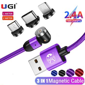 UGI 3 w 1 2 4A szybkie ładowanie 540 kabel magnetyczny dla IOS typ C kabel USB C kabel Micro USB akcesoria do telefonów komórkowych Samsung tanie i dobre opinie LIGHTNING TYPE-C CN (pochodzenie) Magnetyczne Ze wskaźnikiem LED 1m 2m 3m Red Blue Black Purple Type C Micro USB iOS