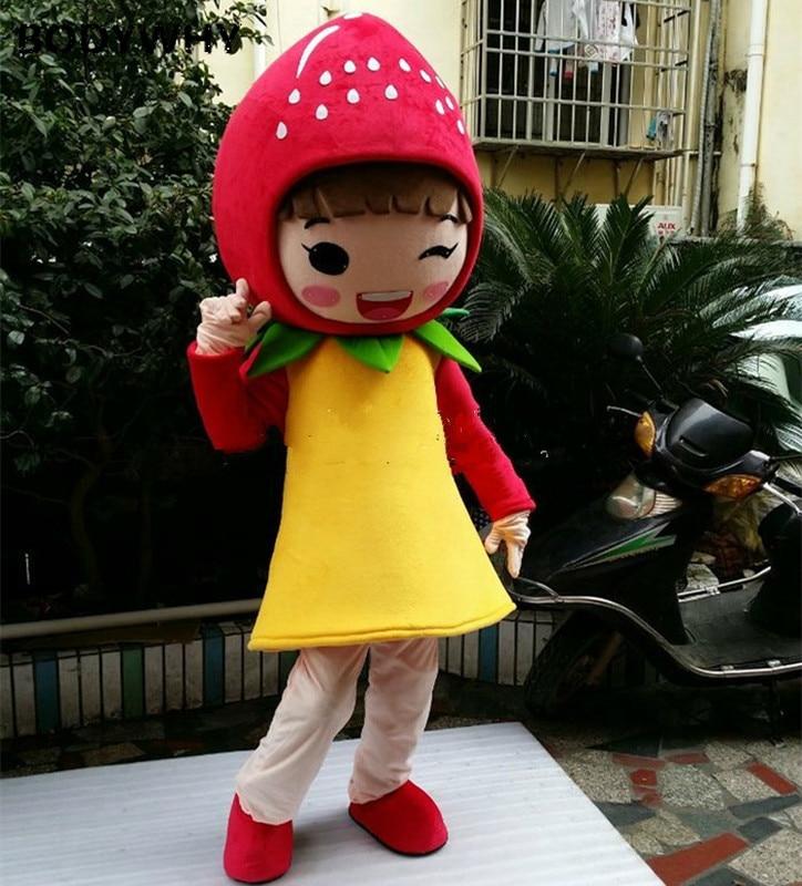 Fraise fille dessin animé poupées Costume marche mascottes siamois tenue Kaidian célébration industrie bien-être Public activités poupée
