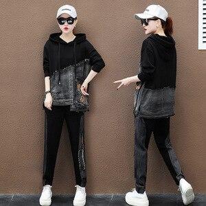 Image 3 - Max lulu outono marca de moda coreana senhoras duas peças conjunto roupas de fitness das mulheres denim topos harem calças suor do vintage treino