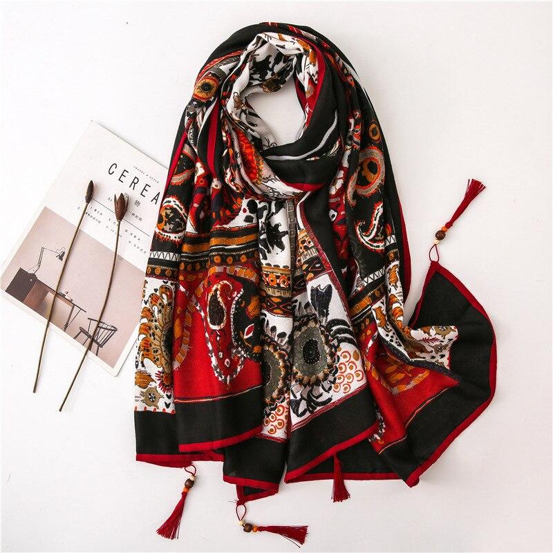 Mode Aztec Ethnische Cashew Floral Viskose Schal Schal Damen Drucken Quaste Hijabs und Wraps Pashmina Stola Bufandas Muslimischen Sjaal