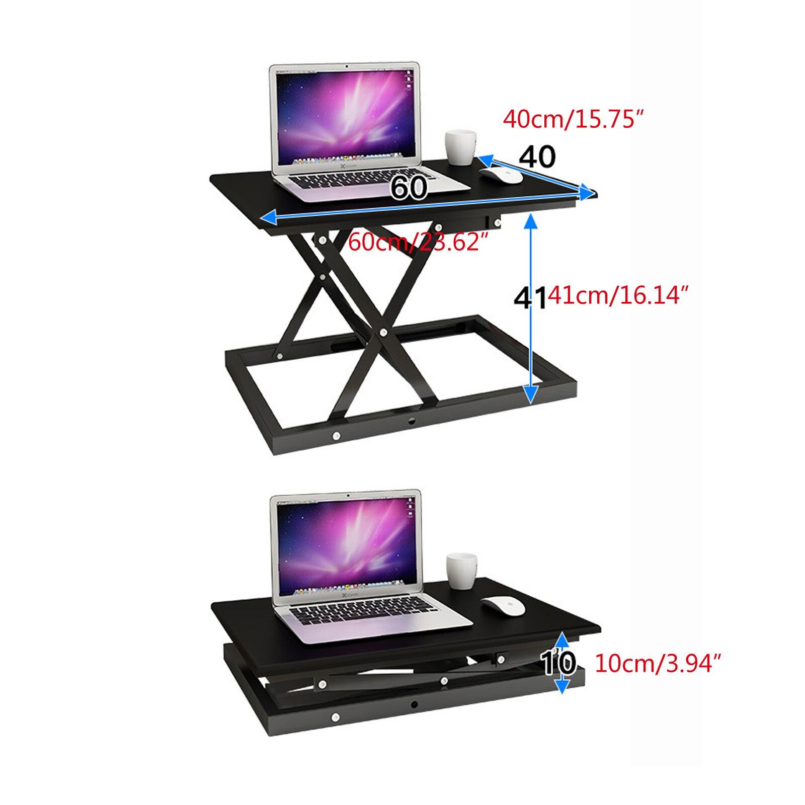 Black  Sit-Stand Large Height Adjustable Computer Desk Converter Stand Up Computer Office Desktop