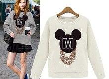 Cartoon Mickey Mouse Shirt Long Sleeve Streetwear Fleece Wool Autumn shirt off white Gray Color Mickey Shirt Girl Female T-Shirt цена 2017