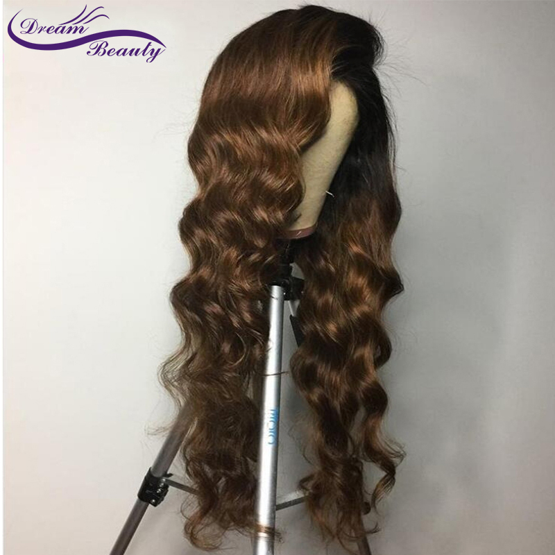 He472f799abf34dcba868dde460f56d163 Ombre Brown Wig Brazilian Remy Human Hair Wigs Pre Plucked Natural Hairline Wavy 13x4 Lace Front Wigs Baby Hair Dream Beauty