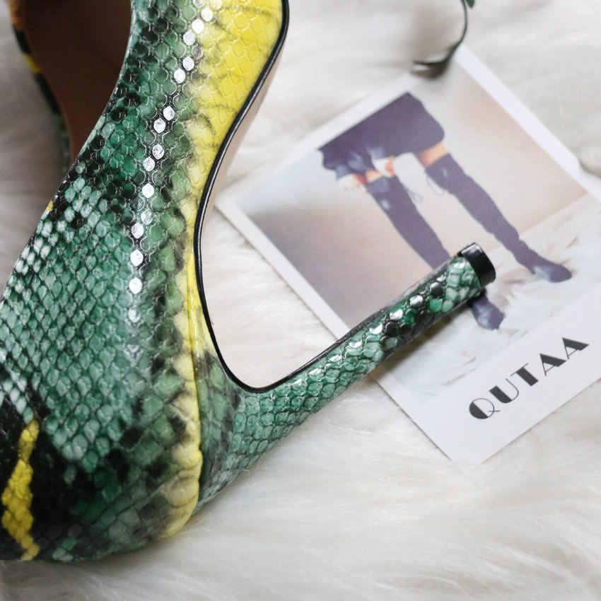 Qutaa 2020 Mode Schoenen Vrouwen Pompen Hoge Hakken Slangenhuid Pu Flock Sexy Vrouwen Schoenen Sexy Dames Wees Teen Stiletto Maat 34-43