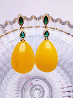 Natural old gold amber earring 925 silver earrings amber with 925 sterling silver women earrings add certificate 7.1g