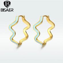 BISAER Simple  Copper Lovely Blue & Graceful Lines Stud Earring Show The Unique temperament Fashion Jewelry For Women HNE178