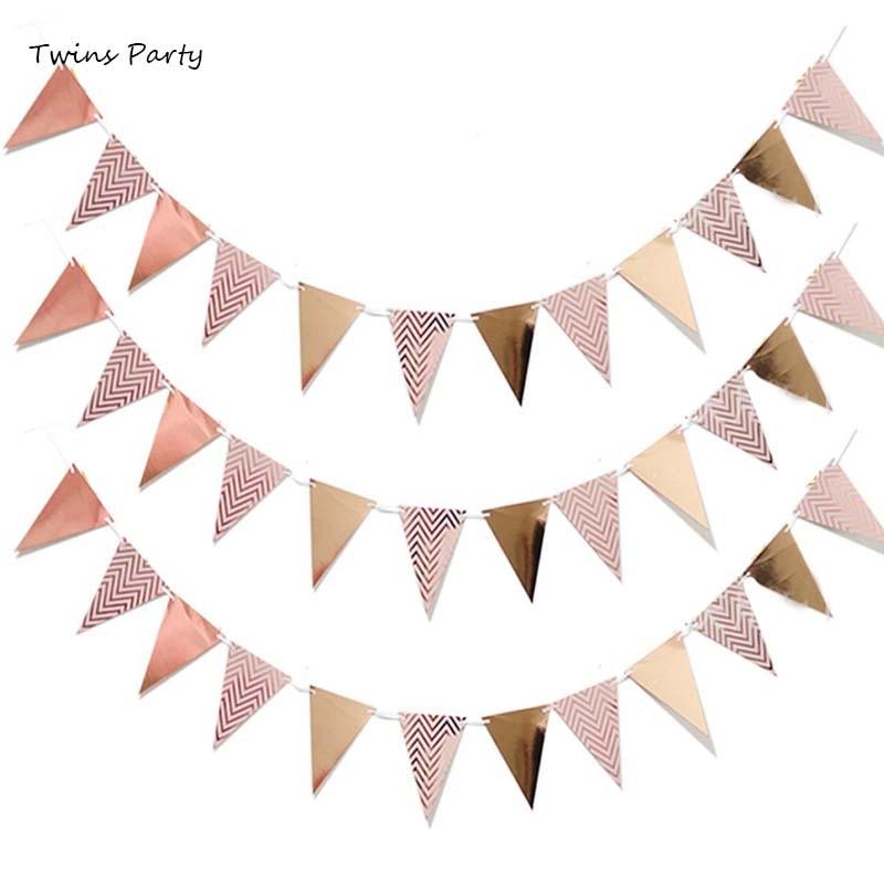 Bandeiras de aniversário infantis, decoração de festa em ouro rosado, aniversário, guirlandas, decoração de festa de casamento