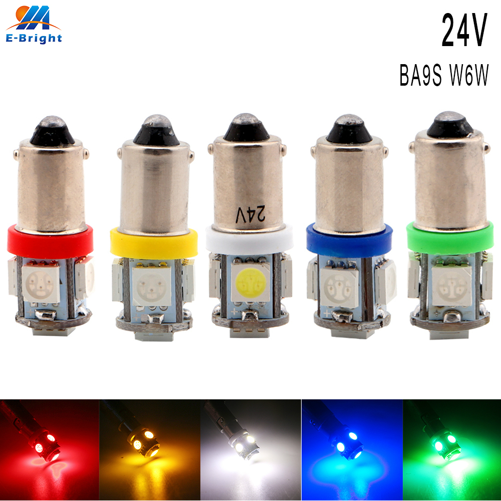 10pcs/lot 24V BA9S W6W 5050 5 SMD LED Bulb Auto Lamp Wedge Marker LED Car Truck Indicator Signal Light Parking Reading 60Lm Lamp