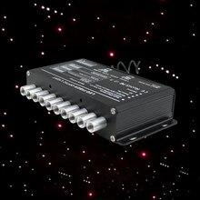 Fuente de luz de fibra óptica 5W, estrellas de disparo, RF, remoto, efecto cielo estrellado, iluminación blanca, controlador de motor LED