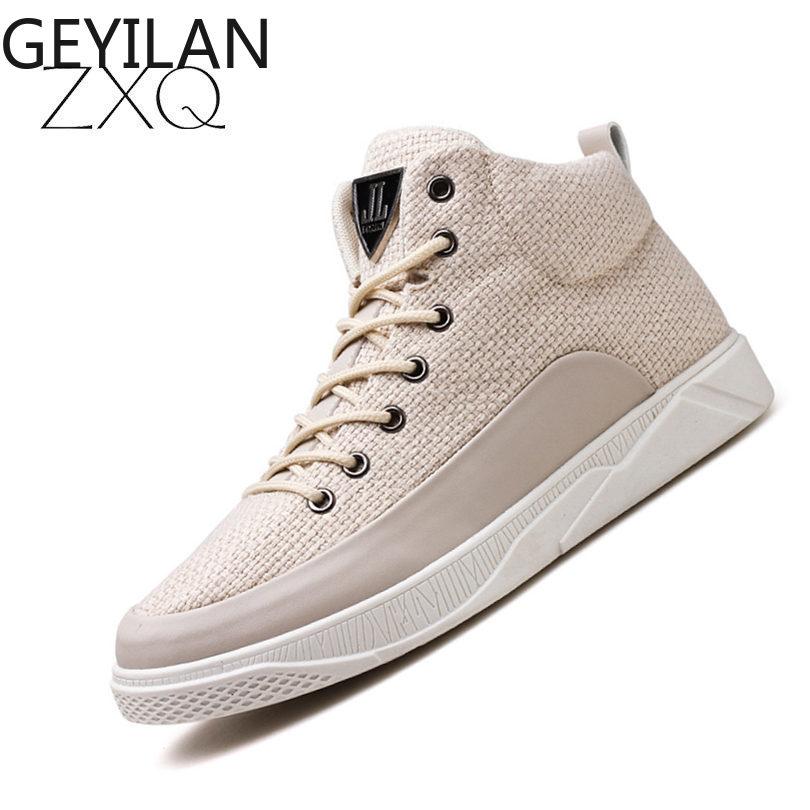 Мужские кроссовки с высоким берцем, верх из пеньки, дышащая обувь черного и белого цвета, модная брендовая обувь, мужская повседневная обувь