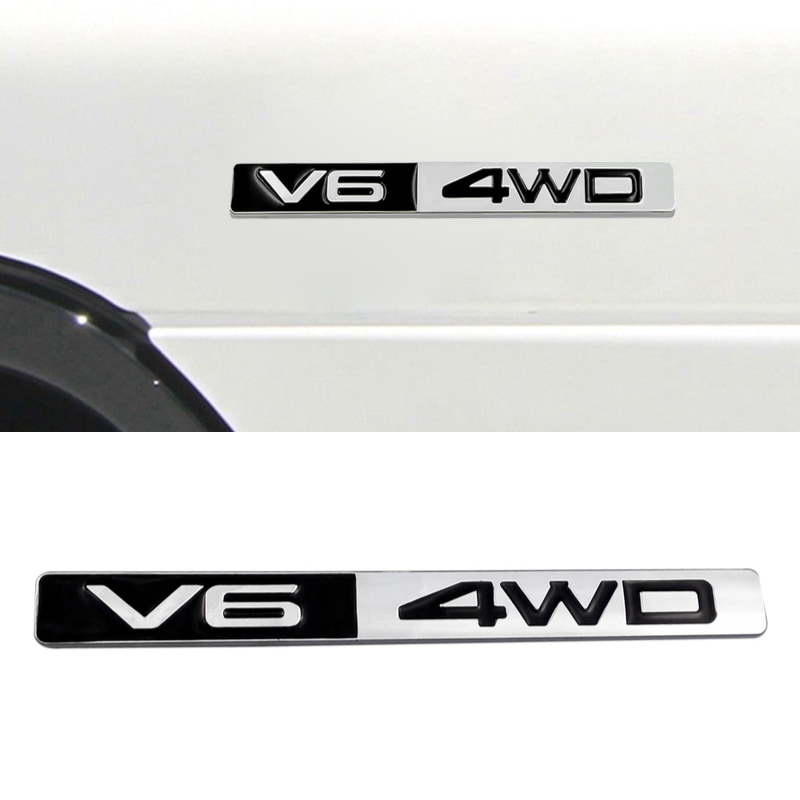 V6 4WD AWD Limited 4 Wheel <font><b>Drive</b></font> Alloy Refitted Car Styling <font><b>Emblem</b></font> Badge Exterior Decal 3D Sticker for Mercedes-Benz Audi <font><b>BMW</b></font> image