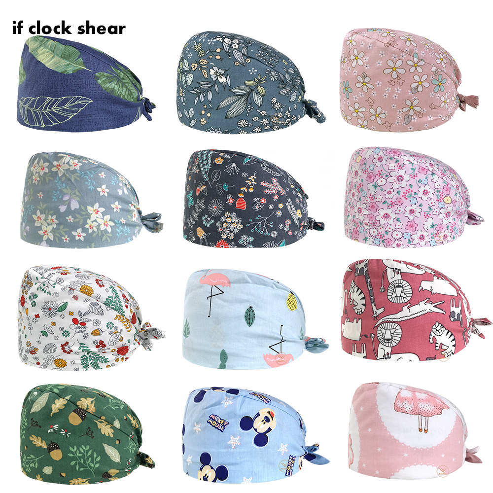 Flowers Print Doctor Nurse Surgical Scrub Cap Men Women Adjustable Medical Caps Hospital Lab Clinic Dental Operation Hats Unisex