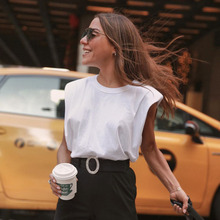 TITAME Women Sleeveless Vest T Shirt Female O Neck White Women Blouse Shirt Ladies Loose Solid Chic Casual Blouses Cotton Blouse