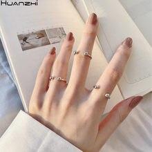 Huanzhi 2020 nova coréia minimalista pequena bola adorável prata cor chapeado abertura cobre anéis de metal para meninas jóias