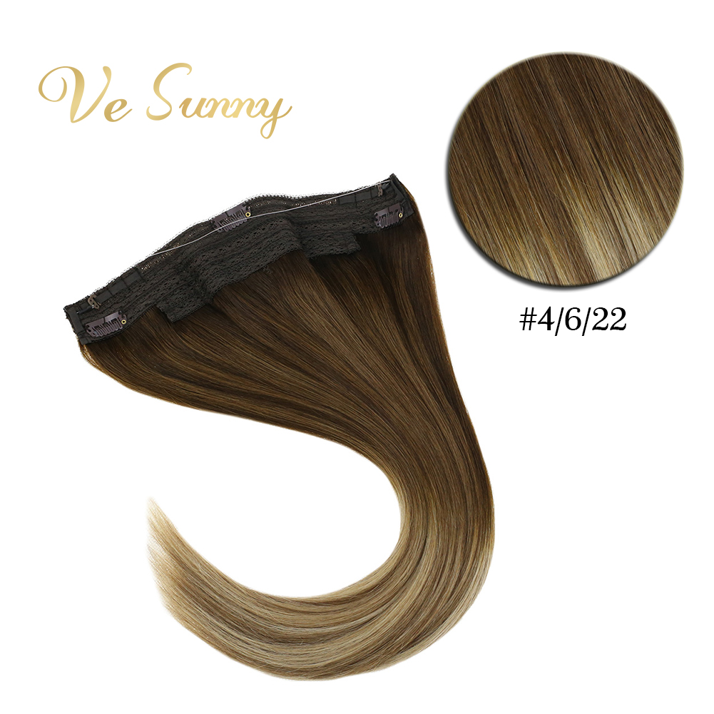VeSunny One Piece Invisible Halo Hair Extensions Human Hair Fishing Flip Wire With 2 Clips Balayage Brown Mix Blonde #4/6/22