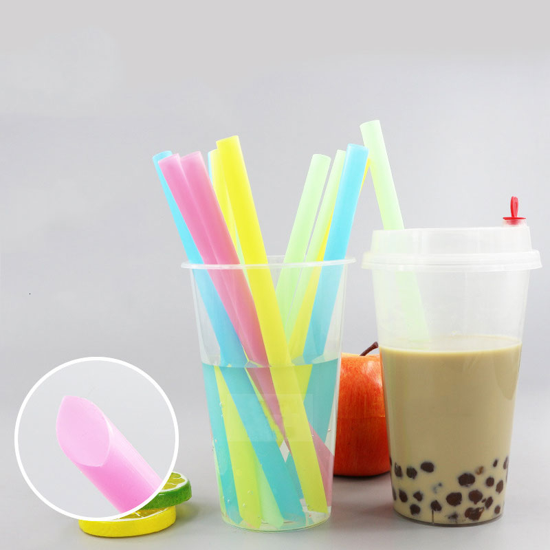 100Pcs/pack Color Disposable Pearl Milk Tea Straws Large Diameter Straw Individually Transparent Package Thicken Party Straws