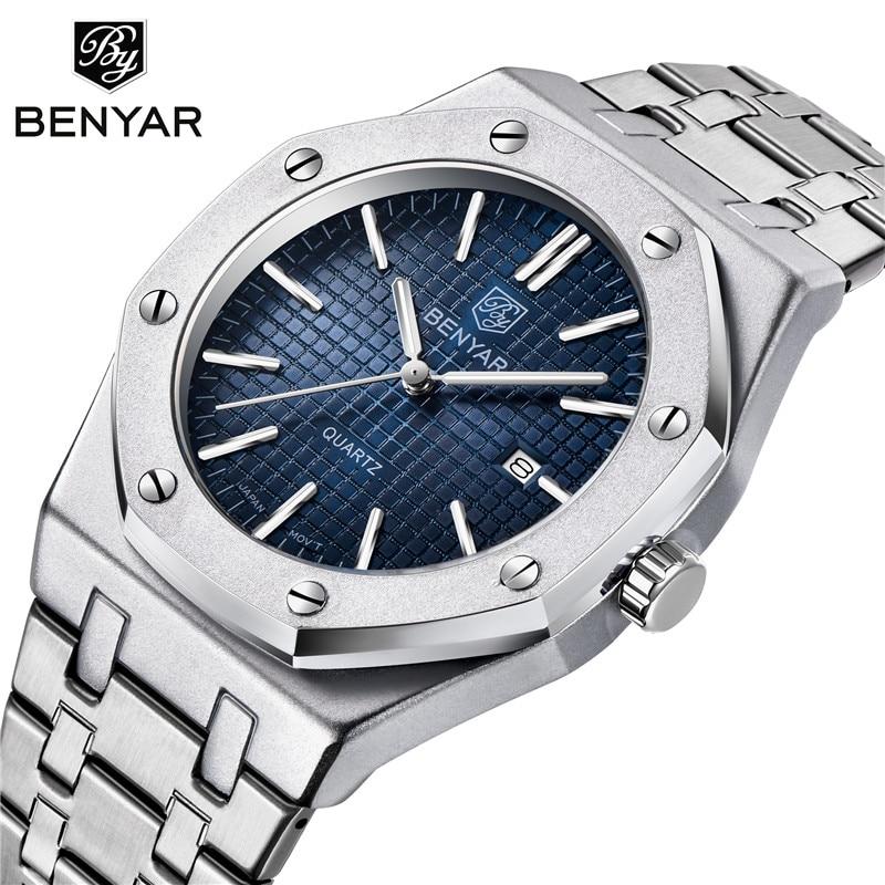 BENYAR 2020 New Top Luxury Brand Mens Watches Fashion Quartz Watch Men Casual Wristwatch Sport Waterproof Clock relojes hombre