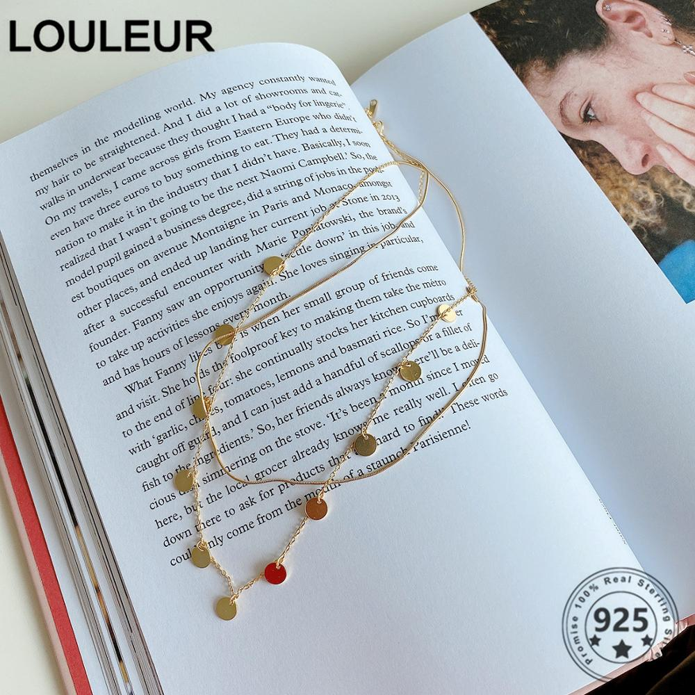 Louleur Design 925 Sterling Silver Necklace Double Layer Wafer Necklace For Women Silver 925 Fine Jewelry Silver 925 Charms(China)
