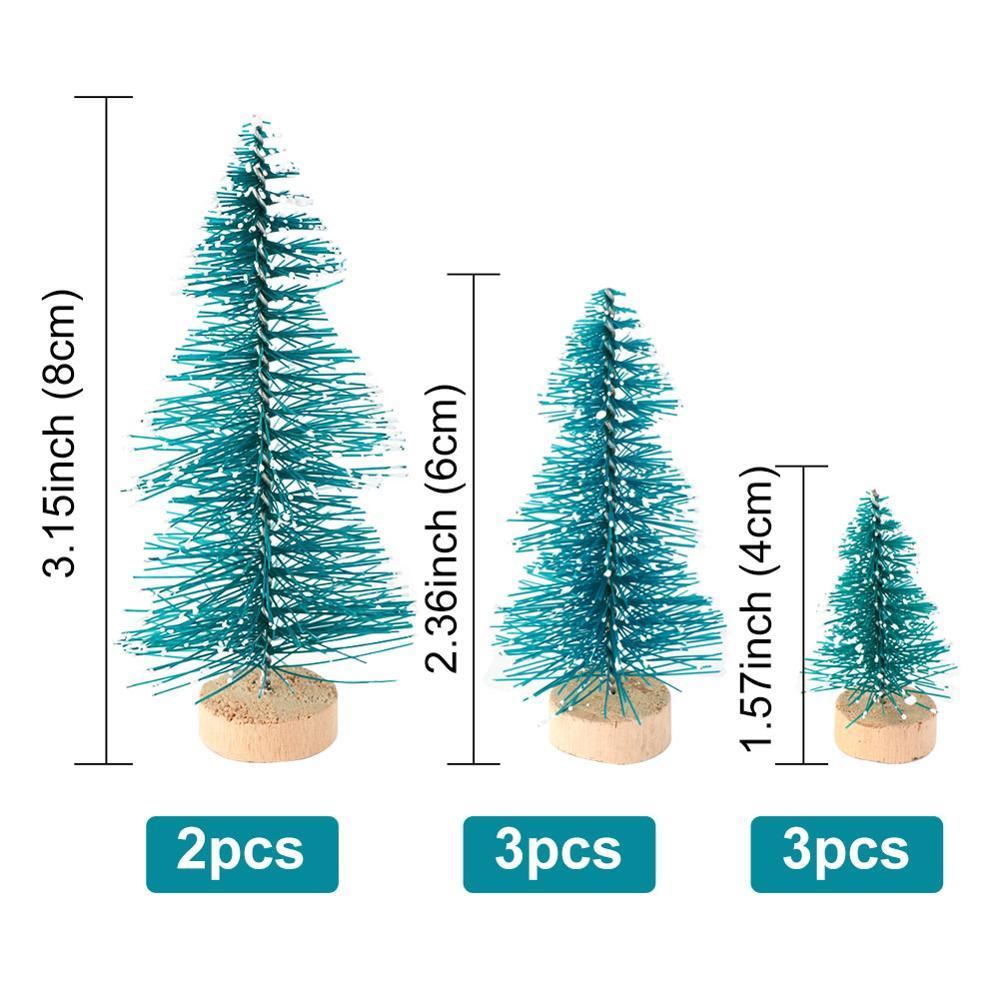 OurWarm 8 шт. Маленькая DIY Рождественская елка искусственная сосна дерево мини щетка для бутылок из сизаля Рождественская елка Санта, снег, мороз деревенский дом - Цвет: E