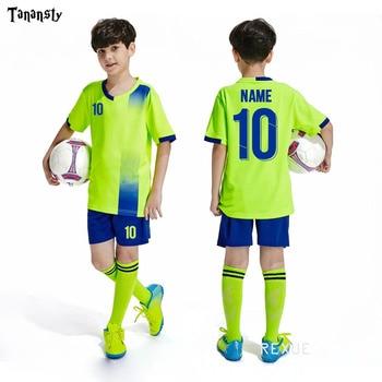Free socks Custom Kids Soccer jerseys sets football uniform Boys 2020 Football jersey soccer Joursey Sport set with