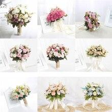 Искусственные букеты для свадьбы Ramos De Novia, розовые, синие, фиолетовые, красные ленты, ручки 27 см, 22 см, свадебные аксессуары
