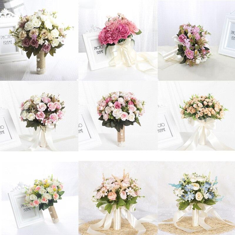 Artificial Bouquet For Wedding  Ramos De Novia Artificiales Pink Blue Purple Red Ribbon Handle 27cm 22cm Wedding Accessories