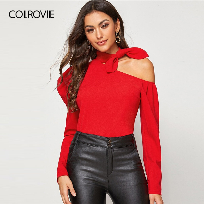 COLROVIE Red Asymmetrical Neck Knot Detail Top Women Puff Sleeve Style Ladies Solid Tops 2019 Autumn Elegant Sexy Tees