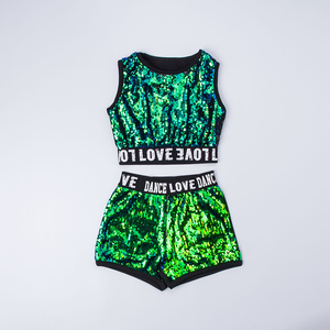 Image 5 - Kid Sequin Hip Hop Hoodies Jacket Clothing for Girls Crop Tank Top Shirt Shorts Jazz Dance Costume Ballroom Dancing Clothes Wear
