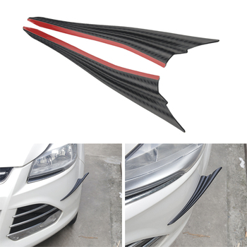 2pcs Universal Black Carbon Fiber Car Styling Accessories Front Bumper Lip Rubber Fin Splitter Spoiler Canard Valence Sticker image