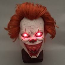 LED Ini Bab 2 Pennywise Clown Cosplay Masker Flash Menakutkan Stephen King Lateks Topeng Halloween Berdarah Pesta Kostum Alat Peraga(China)