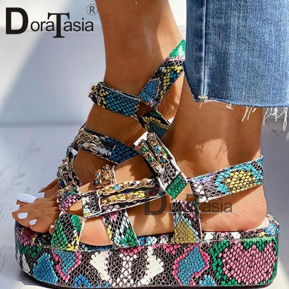 DORATASIA Big Size 34-44 Brand New Luxury Ladies Colorful Wedges Gladiator Sandals Shoes Woman Party Summer Sandals Women 2020