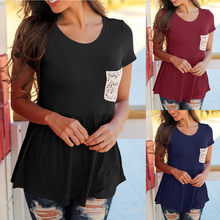 Women T-Shirts Round Neck Short Sleeve Clothes Female Ladies t-shirt Breathable Chest Lace Patchwork Peplum T-Shirt Pocket Tops(China)