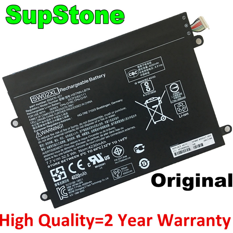SupStone Genuine Original SW02XL Laptop Battery for HP Notebook x2 210 G2 Detachable TPN-Q180 HSTNN-IB7N 859470-1B1 859517-855 image