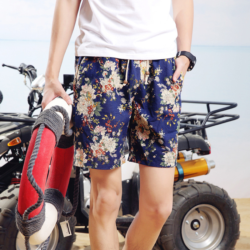 2017 New Style Ethnic-Style MEN'S Shorts Cotton Linen Casual Pants Cool Shorts Floral-Print Multi-color Shorts Shorts