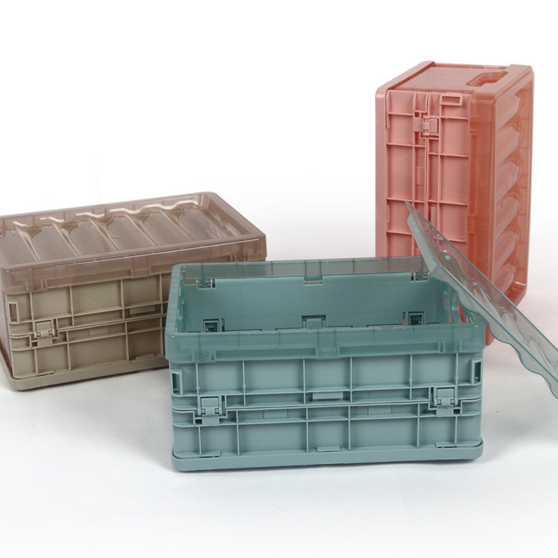 Collapsible Plastic Storage Crate Household Sundries Storage Case Portable Stackable Home Garage Warehouse Desktop Storage Box