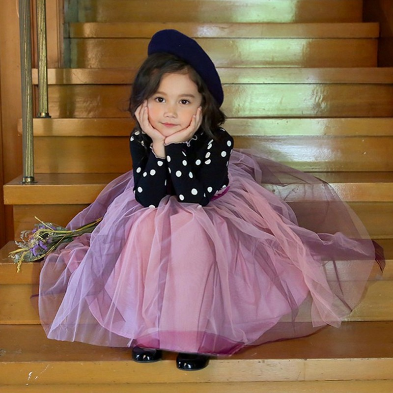 3-8 Years Autumn Dress For Girls Flower Lace Long Sleeve Backless Tulle Dresses Wedding Party Princess Bridesmaid  Formal Gown 3