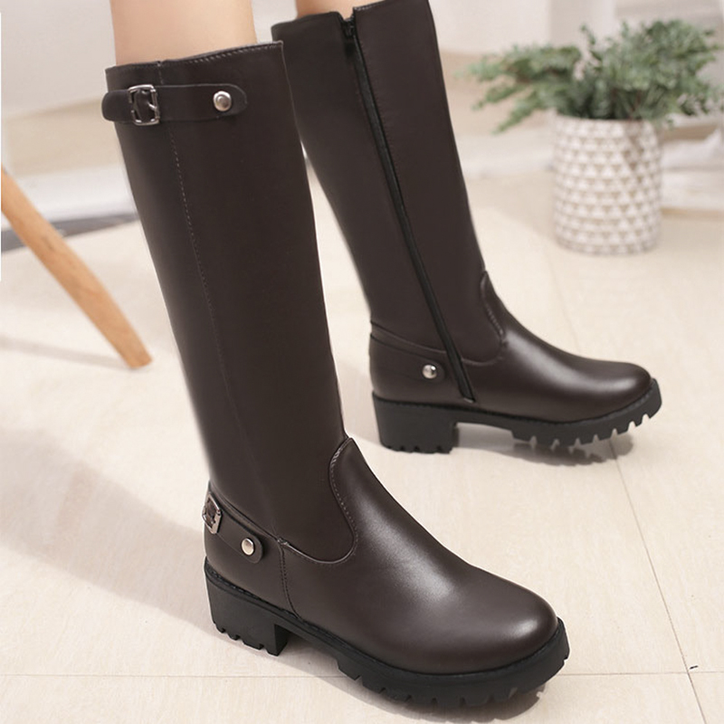 Купить с кэшбэком Genuine Leather NIUFUNI Punk Style Mid-Calf Boots Women's Pure Color Rain Boots Outdoor Zipper Buckle Water shoes For Female