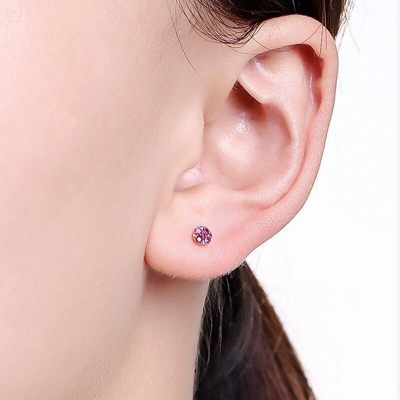 Solide 14k or Rose naturel rubis femmes boucles d'oreilles de fiançailles de mariage bijoux fins - 6