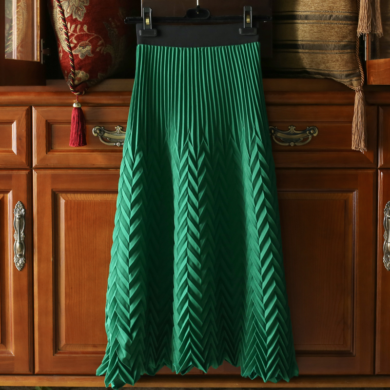 LANMREM 2020 Spring New Fashion Pleated Skirt For Women Elastic Waist Loose Big Pendulum Skirt High Quality Clothes Famale YH700