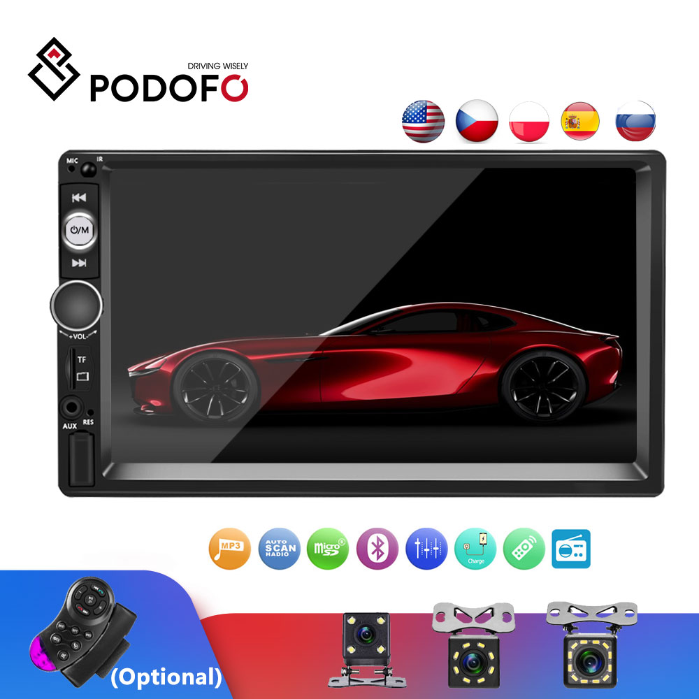 Podofo Autoradio 2 Din Cassette Recorder Car Radio 7'' Touch Screen 2din Car Radio Audio Bluetooth MP5 FM Multimedia Player