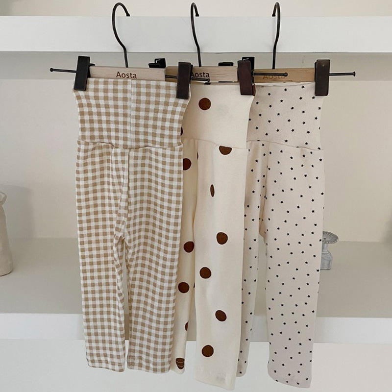 2021 Spring And Autumn New Style Toddler Boy Girl Fashion Cotton Full Length Kids Soft Dot Pattern High Waist Pants