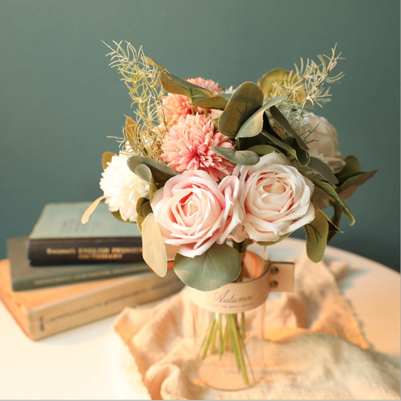 Artificial Flowers Cheap Bridal Bouquet Wedding Decorative Flowers Vases For Home Decoration Accessories Needlework Fake Roses Leather Bag