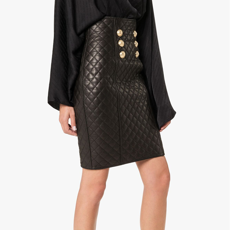 HIGH QUALITY 2020 Newest Designer Skirt Women's Lion Butttons Embellished Zip Grid Leather Skirt image