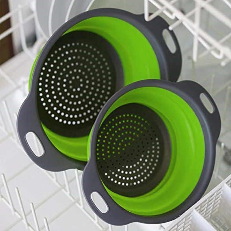 Складной силиконовый дуршлаг для фруктов, овощей, корзина для мытья, ситечко, складной Слив с ручкой, кухонные инструменты